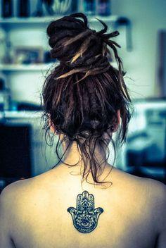 Dreads and a hamsa tattoo Hamsa Tattoo, Tattoo Henna, Sanskrit Tattoo, Piercings, Piercing Tattoo, Dread Hairstyles, My Hairstyle, Cool Hairstyles, Cute Tattoos
