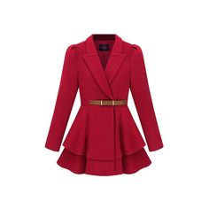 New Style Pleat Hem Red Coat (760 BRL) ❤ liked on Polyvore featuring outerwear, coats, jackets, coats & jackets, casaco, puffer coat, red puffer coat, pleated coat, wool coat and pleated wool coat