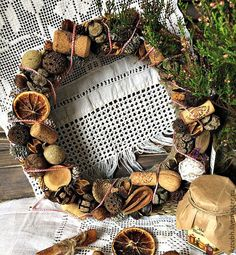Купить Венок новогодний в эко стиле - коричневый, венок на дверь, венок на стену, венок на новый год