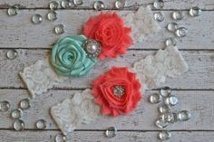 Tiffany Blue Coral  Wedding Bridal Garter Set by ContessaGarters, $29.95