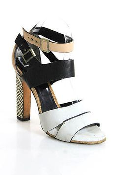 Rachel Roy Multi-Colored Leather Ankle Strap Woven Block Heel Sandals Size 7.5