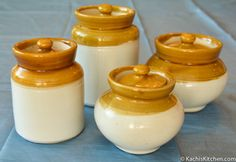 Hand me downs from amma may be! Indian Cafe, Bean Pot, Pickle Jars, Kitchen Decor, Kitchen Ideas, Indian Kitchen, Ceramic Jars, Diwali Decorations, Indian Home Decor