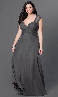 Ruched Silver Plus-Size Long Prom Dress - PromGirl