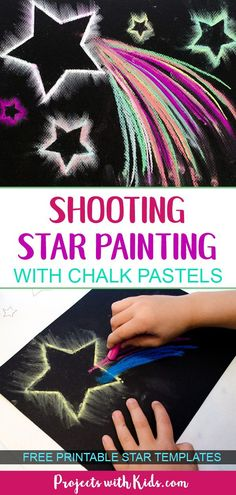 Use easy chalk pastel techniques to create shooting star paintings that are out of this world! Free star templates included. #chalkpastels #kidsart #projectswithkids