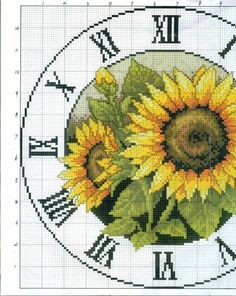 Cross-stitch Sunflowers Clock-face, part color chart on part 2 Cross Stitch Love, Cross Stitch Borders, Cross Stitch Flowers, Cross Stitch Charts, Cross Stitch Designs, Cross Stitching, Cross Stitch Embroidery, Cross Stitch Patterns, Sewing Art