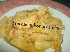 Receitas - Arroz de bacalhau com camarão - Petiscos.com