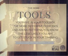 """""""The more tools you have in your toolbox, the more different exercises and arena patterns you know, the less likely you are to get stuck in your training."""" - Thomas Ritter www.artisticdressage.com"""