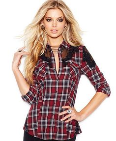 GUESS Long-Sleeve Lace-Inset Plaid Blouse