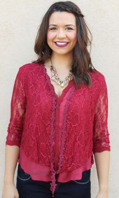 Keltie Lace Top Cardigan In Burgundy & Dark Red Cardigans For Women, Coats For Women, Jackets For Women, Clothes For Women, Pretty Angel Clothing, Red Clothing, Ladies Poncho, Little Red Dress, Lace Outfit