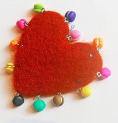 Coeur en laine feutrée