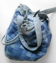 Woven denim strip bag.