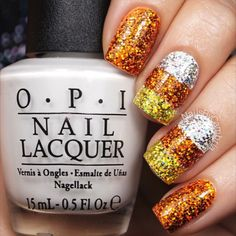 Here's the tutorial for my holo candy corn nails!✨ You know I had to use this song again. Especially because it fits so much better for these!  Believe me, they are wayyyy more reflective in person! ✨✨✨ Tag someone who would  these! Candy Shop - 50 Cent I used: @opi_products Alpine Snow @twinkled_t Striping stencil pieces   10% off with my code CAMBRIA @sechenails Seche Vite Holographic glitter from Michaels Craft Store All polishes are from @hbbeautybar   15% off with code nailsbycamb