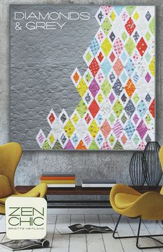 Zen Chic Diamonds and Grey Quilt Pattern Modern Quilt from scraps or yardage