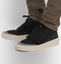Fear Of God Sixth Collection Skate Mid Sneaker In Black High Top Sneakers, Sneakers Nike, Skater Style, Embossed Logo, Velcro Straps, Black Silver, Lace Up, Mens Fashion, God