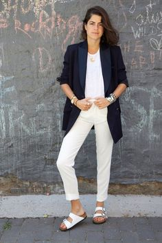 5 Ways To Wear Birkenstocks (and Actually Look Chic) - Leandra Medine of 'The Man Repeller' wearing a black blazer, white t-shirt, white baggy pants, and matching Birkenstock sandals Estilo Birkenstock, Birkenstock Outfit, Birkenstock Fashion, Fast Fashion, Moda Fashion, Fashion 2018, Fashion Beauty, Blazer Outfits, College Fashion
