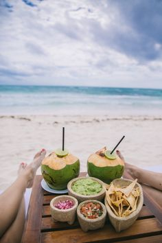 Guacamole on the beach in Mexico