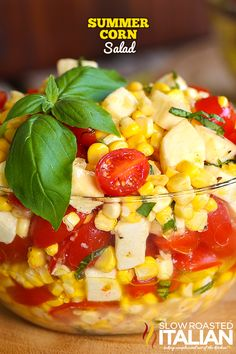 Summer Corn Salad is a bright refreshing taste of summer. Garden fresh corn and tomatoes come together with fresh mozzarella, herbs and a glorious dressing that really gives it an even lighter fresher taste. This simple recipe is the perfect summer side! Summer Corn Salad, Summer Salads, Fresh Corn Salad, Vegetarian Recipes, Cooking Recipes, Healthy Recipes, Delicious Recipes, Fresh Corn Recipes, Tasty