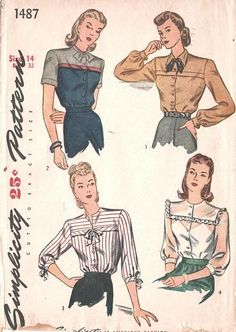 Blouse front has button closing and a square shoulder yoke. A fold may be inserted between the yoke and blouse front (Views 1, 2, 3). Pointed or tie collar or collarless. Short sleeves with cuffs or 3/4 length sleeves gathered to band or bishop sleeves gathered to buttoned cuffs. c. 1945