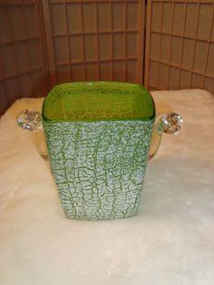 Beautiful Hand Blown Textured Green & White Glass Art Noveau Ice Bucket