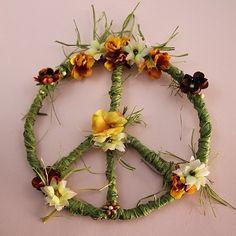 PEACE SIGN, PEACE Wreath, Peace, Flower Child, Hippie, Peace Symbol, Peace Sign Decor, College, Dorm Room, Gift, Boho, Peace Sign Wall Art on Etsy, $24.99