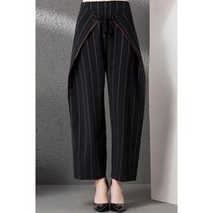 Tied Pinstriped Suede Culotte Pants ($106) ❤ liked on Polyvore featuring pants and capris