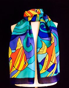 Hand painted silk scarf vibrant tropical fish by FantasticPheasant, $45.00