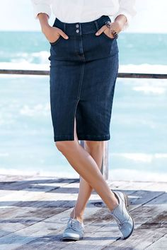 Next Dark Blue High Waist Enhancer Denim Skirt