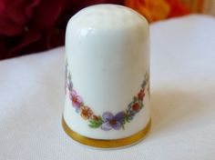 Vintage THIMBLE Flowers Hand painted Signed by vintagelady7, $5.00