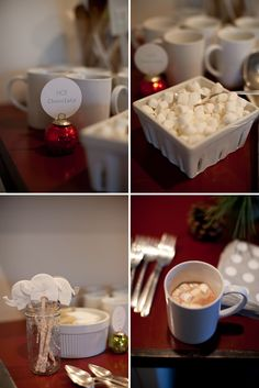 Winter Baby Shower... But great idea for Any Holiday occasion. --- gift mugs with a cocoa packet inside of it and wrap with plastic gift wrap, tie with ribbon, and add a thank u card.