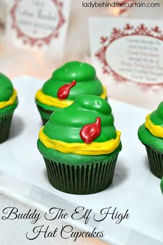 "Create these fun Buddy the Elf High Hat Cupcakes for your kids Christmas Party!  ""Elf"" is one of my families favorite holiday movies.  So I decided this ye"