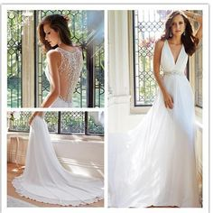 New Arrival V-Neck Sexy Unique Style Elegant Chiffon Wedding Dress Bridal  Gown beb283979116