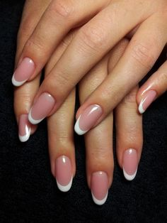 "If you're unfamiliar with nail trends and you hear the words ""coffin nails,"" what comes to mind? It's not nails with coffins drawn on them. It's long nails with a square tip, and the look has. French Tip Acrylic Nails, French Manicure Nails, Almond Acrylic Nails, Short French Tip Nails, Natural French Manicure, Round Nails, Oval Nails, Cute Nails, Pretty Nails"
