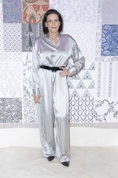 Princess Stéphanie of Monaco attends the Alter show as part of the Paris Fashion Week Womenswear Fall/Winter on February 2020 in Paris, France. Monaco Royal Family, Princess Stephanie, Portraits, Paris Shows, Fashion Show, Duster Coat, Women Wear, Gallery, Diana