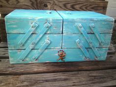 Vintage Large Wooden SEWING BOX Accordian - Beach House Turquoise - Shabby Chic - French Farmhouse - Cottage Style - Storage on Etsy, $85.00