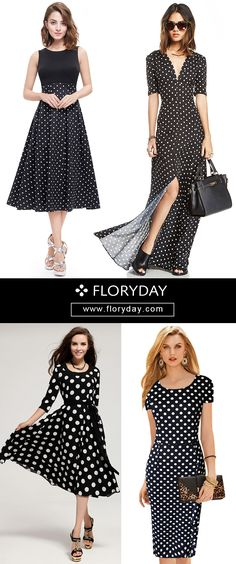 Swing that polka dot classic print which is fun and fabulous to wear on a day!  It never gets old; this is what you call classic! In Polyester fabric and black, it's very casual but yet chic! View more at: www.floryday.com