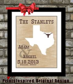 Wedding Gift Rustic Country Western Decor: Customized Map Personalized Engagement Party Love Custom Texas tx Wedding Choose City State Gifts