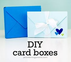 Card boxes using WRMK Envelope Punch Board + video (box for A2 cards (4 1/4″ x 5 1/2″) & envelopes and box for 4-bar cards (3 1/2″ x 4 7/8″) & envelopes)