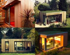 Container house with green roof, and overhang detail