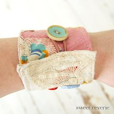 Patchwork wrist cuff with lace