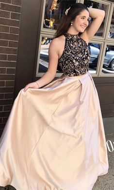 2018 two piece long prom dress, black beads and champagne prom dress, prom dress with pockets Senior Prom Dresses, Prom Dresses For Teens, Prom Outfits, Prom Dresses 2018, Special Dresses, Ball Dresses, Dinner Dresses, Prom Dresses With Pockets, Open Back Prom Dresses