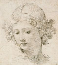 Head of an Angel by Pietro da Cortona. (1596 - Rome, 1669)