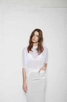 Organic by John Patrick / Gauzy Mesh Pullover T by Alexander Wang / Luxe Ponte Triangle Bra Organic by John Patrick / Silk Skirt #lagarconneatelier