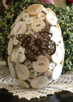 Vintage button-covered Easter egg.