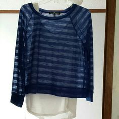 2 in 1 cute top Blue sheer over whit like tank Tops Blouses