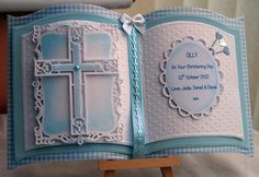 Christening Card: This is a card made using the bookatrix board which is such a versatile board as cards can be made for all occasions. I combined it with spellbinder Christening Cards For Boys, Baptism Cards, Baby Boy Christening, Handmade Christening Cards, Easter Cards Religious, First Communion Cards, Confirmation Cards, Baby Boy Cards, Purple Cards