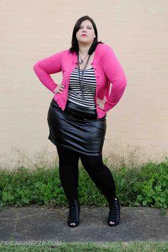 Curvy Plus Size Fashion OOTD Pink Stripes Black Pleather