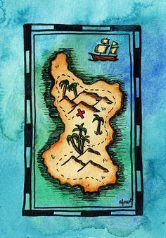 Musician's Island Treasure Map / 3 x 5 Original by paintandink