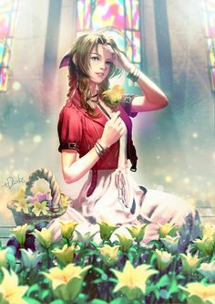 Aeris Gainsborough Flower Girl from Final Fantasy 7 Final Fantasy Vii Remake, Artwork Final Fantasy, Final Fantasy Girls, Final Fantasy Characters, Fantasy Series, Kaori Anime, Sr1, Anime Manga, Anime Neko