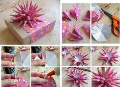 Moño de papel con puntas para decorar regalos | Home Manualidades