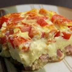 Omelet met tomaat en ham uit de oven.